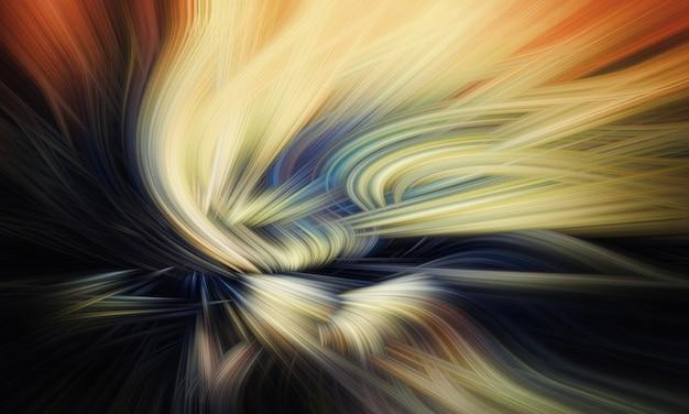 Высокое разрешение. абстрактная футуристическая картина желтого, оранжевого и синего цвета в стиле светлых волос и северного сияния на черном фоне.