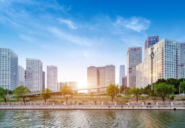 중국 베이징의 금융 지구에있는 고층 건물.