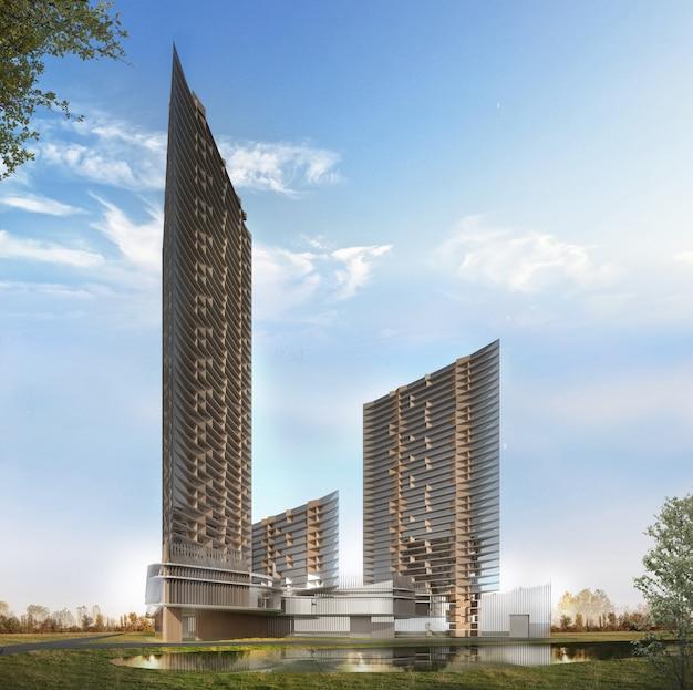 High rise exterior render