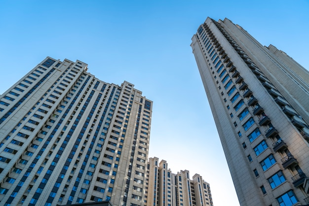 High rise residential quarter of urban buildings