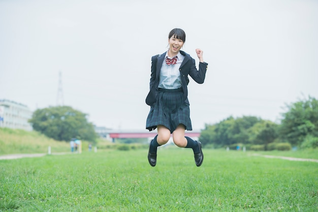 High school girl jumping