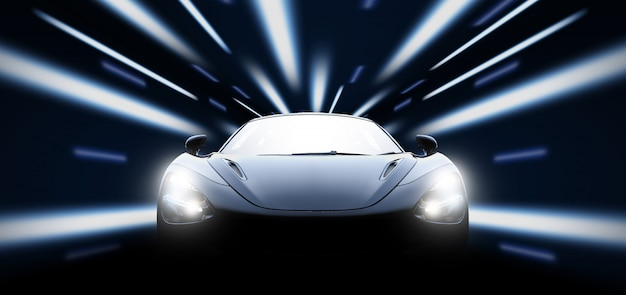 Высокоскоростной черный спортивный автомобиль ночью