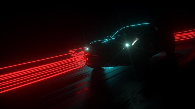 그런 지 오버레이와 함께 도시 미래 자동차 개념에서 운전하는 고속 럭셔리 세단