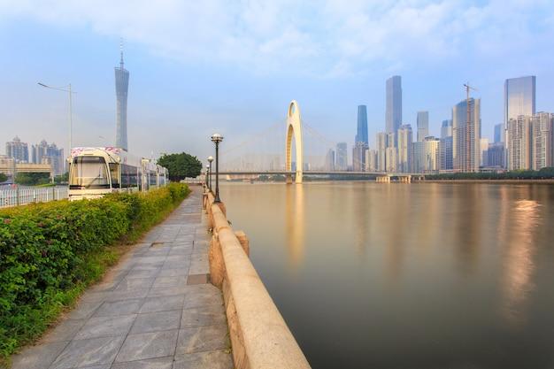 High speed train in urban landscape background guangzhou city, china
