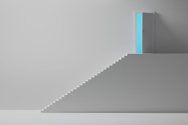 High stairs leading to an opened door with blue light
