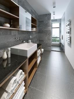 High-tech bathroom design and grey colored walls.