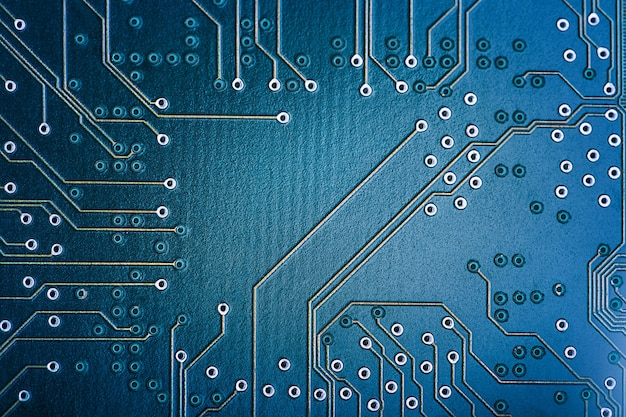 High tech circuit board. macro technology and computing concept. network technology background .