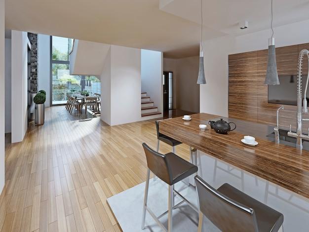 Кухня в стиле хай-тек со столовой.