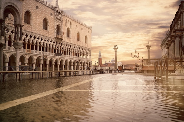 High tide or aqua alta at san marco square, toned image.