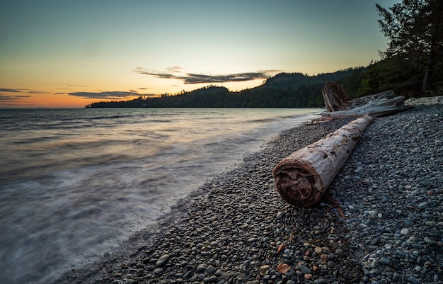 High tide on french beach, vancouver island, british columbia, canada