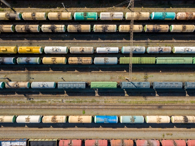 High above top view of cargo train carriage texture standing on a railroad station  f