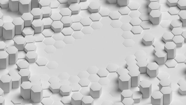 Alta vista 3d a nido d'ape copia spazio sfondo bianco