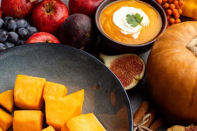High view arrangement of autumn food