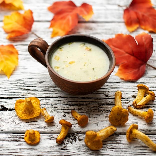 High view autumn mushroom soup
