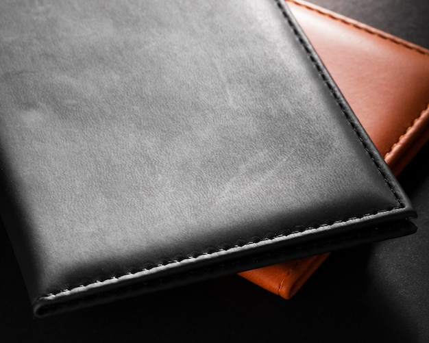 High view black and brown leather wallets