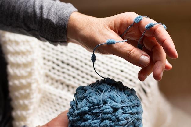 High view blue ball of thread