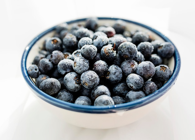 High view bowl of healthy blueberries