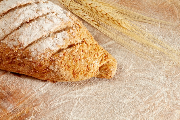 High view bread and wheat