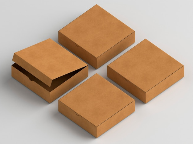 High view brown empty simplistic cardboard boxes
