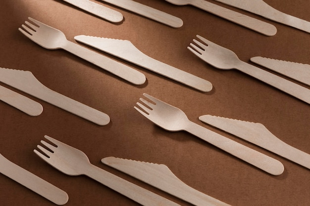 High view cardboard knife and fork