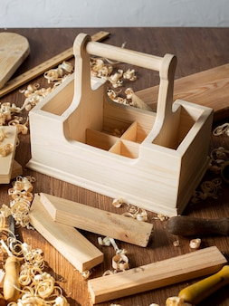 High view carpentry wooden tool box