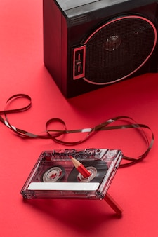 High view cassette tape with pencil