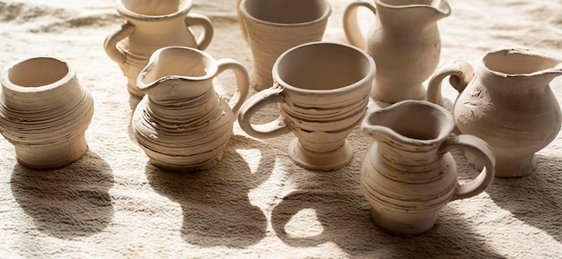 High view ceramics with shadows pottery concept