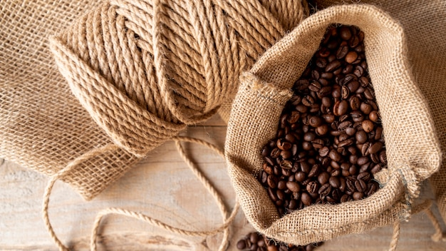High view coffee beans in burlap sack