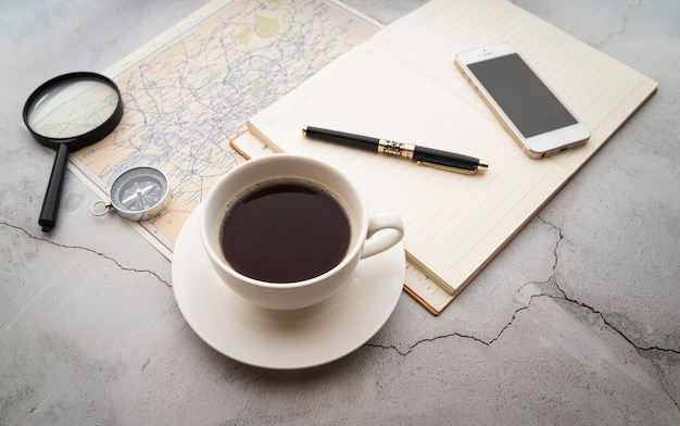 High view coffee and travel plans
