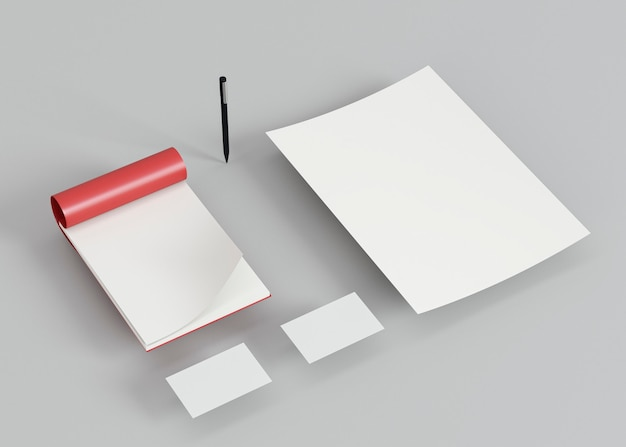Визитные карточки и ручка с высоким углом обзора