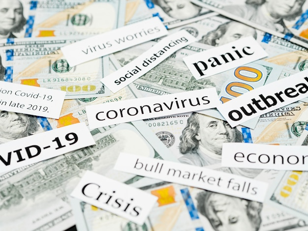 High view coronavirus head titles and money
