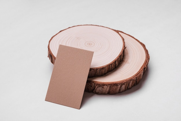 High view corporate visiting card on wood