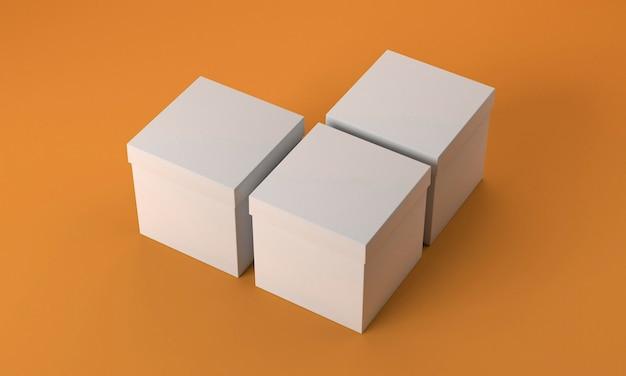 Картонные коробки куба высокого вида на оранжевом фоне
