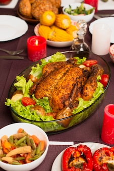 High view of delicious cooked turkey with salad dressing