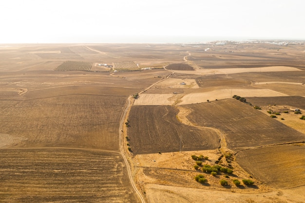 High view dried plains taken by drone