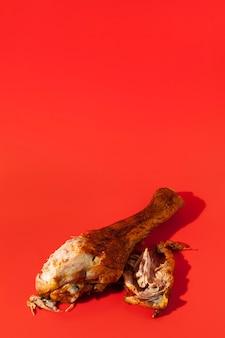 High view leftover chicken leg