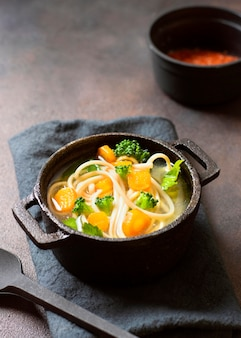 High view noodle soup for winter meals