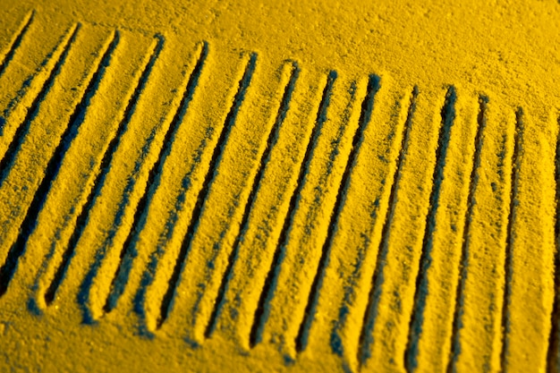 High view of parallel sand lines