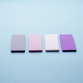 High view pastel-coloured business cards