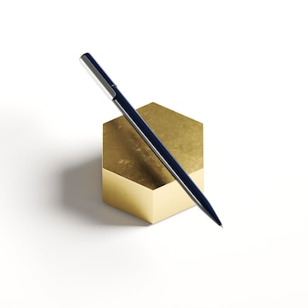 High view pencil on golden geometric shape