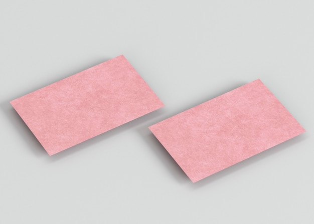 High view pink copy space business cards
