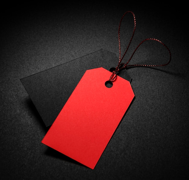 High view red and black price tags with shadow