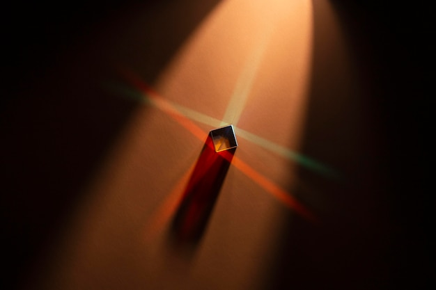 High view red prism abstract with rays