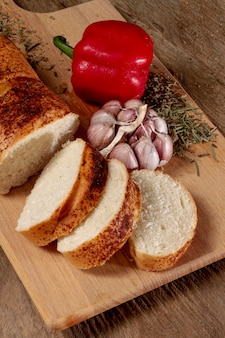 High view slices of bread with sweet pepper