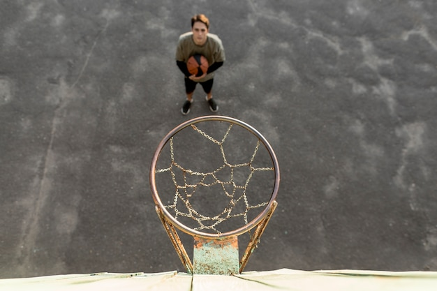 High view urban basketball player