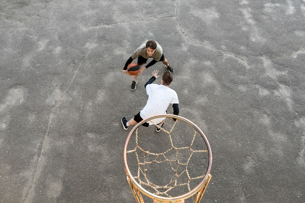 High view urban basketball players