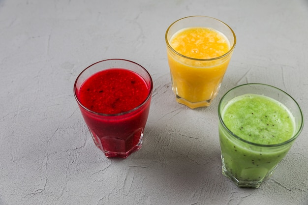 High view variety of smoothie glasses