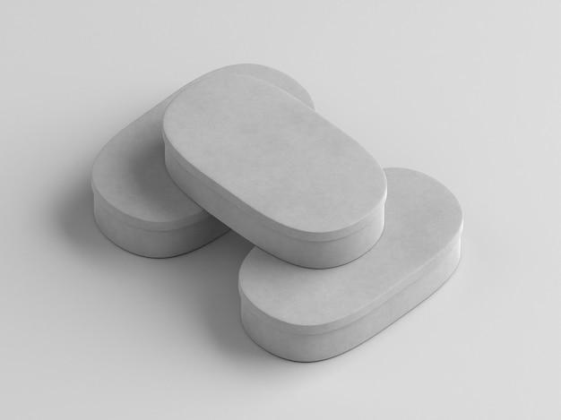 Scatole di cartone ovali bianche ad alta vista
