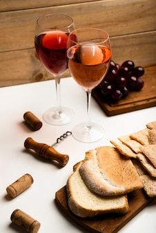 High view wine glasses with bread