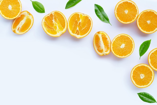 High vitamin c, juicy and sweet. fresh orange fruit on white background.